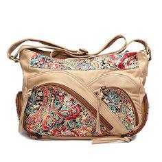 Canvas Tribal Flower Printing Multi-pockets Crossbody Bag Shoulder Bags For Women