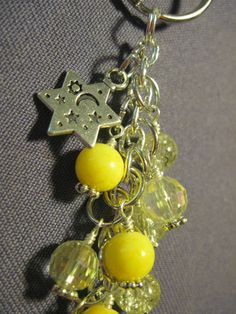 Yellow Crystal and Glass Bead Purse Charm / Key Chain with Star Charm