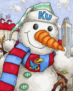 KU snowman by sportsstuff4u on Etsy, $15.00
