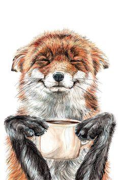 """ Morning fox "" Red fox with her morning coffee Art Print by Holly Simental - X-Small Animal Drawings, Art Drawings, Fuchs Tattoo, Framed Art Prints, Canvas Prints, Framed Canvas, Canvas Art, Fox Painting, Motifs Animal"