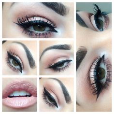 YOUNIQUE Neutral Smoky eye- Glorious primer (all over), Innocent (brow bone), Beautiful (crease), Vulnerable (lid and crease), Curious (inner corner), Devious (wet as liner). top with 3D lashes! Loveable on the lips!