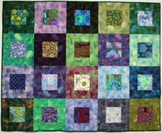 "I call this one ""My Happy Quilt"".  If you click here  you can go back to the post that shows the back of it too.  It has a combination of ..."