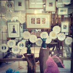 "And here is the ""girly"" week window in all its glory! Parita designed and put it all together for us :)  #art #gallery #cute #prints #rabbit # bronze #doily"