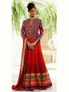 Red Pure Georgette Embroidery Anarkali with Jacket Salwar Kameez Suit