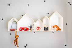 stickers triangle en folie + chouettes étagères maison