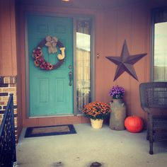 So cute!! Love the color of the door! I Fall, Wonderful Time, Front Porch, Falling In Love, Teal, Thanksgiving, Porch, Thanksgiving Celebration, Thanksgiving Crafts