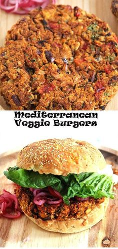 Mediterranean veggie burgers are packed with chickpeas, sweet potatoes, red peppers, garlic, parsley Carrot Recipes, Veggie Recipes, Whole Food Recipes, Vegetarian Recipes, Burger Recipes, Vegetarian Burgers, Veggie Dishes, Healthy Recipes, Vege Burgers