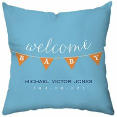 A sweet gift idea for parents-to-be! A personalized birth announcement pillow for the nursery's chair!