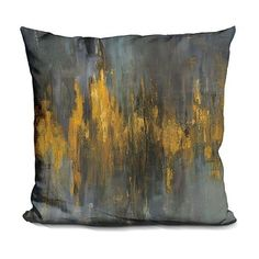 LiLiPi Danhui Nai Black and Gold Abstract Throw Pillow ❤ liked on Polyvore featuring home, home decor, throw pillows, abstract throw pillows, gold accent pillows, gold toss pillows, gold home accessories and black home accessories