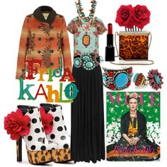 """this is funky stuff--  """"Inspired By: FRIDA KAHLO"""" by mifflinfarm on Polyvore"""