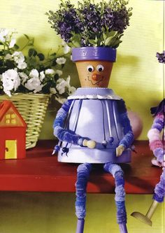 Clay flower pot people idea - purple dressed man: