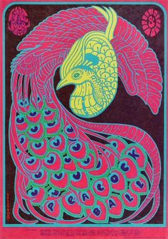 "TOUR/SHOW: Peacock Ball PERFORMER: Quicksilver Messenger Service The Steve Miller Blues Band The Daily Flash LIGHT SHOW: Ben Van Meter Roger Hillyard ITEM NUMBER: FD051-PO ARTIST: Victor Moscoso DATE: Mar 10, 1967 VENUE: Avalon Ballroom (San Francisco, CA) SIZE: 14"" x 20 1/16"" CONDITION: Mint16"