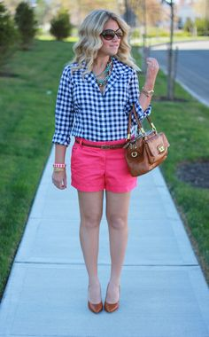 pink shorts gingham shirt
