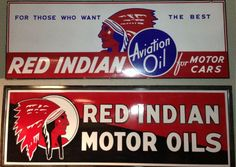 "Red Indian 6"" Motor Oil Framed Sign w/ Red Indian 6' Aviation Framed Sign"