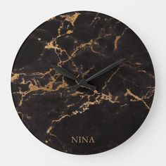 Black And Gold Marble, Black And Grey, Black Clocks, Contemporary Kitchen Design, Brown Aesthetic, Large Clock, Marble Stones, Brown Wood, Silver Glitter