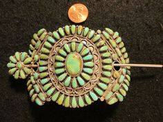 signed petit point turquoise cluster sterling silver pin for ladies hair