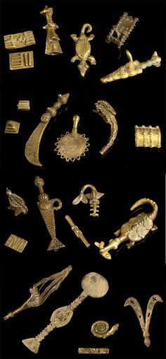 Africa | A collection of gold weights from the Akan people of Ghana | Brass