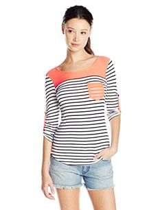 Love By Design Junior's Elbow Sleeve Scoop Neck Top with Woven, Black/Coral, X-Large- #fashion #Apparel find more at lowpricebooks.co - #fashion