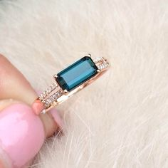 Tormalina blu anello di fidanzamento anello 16 di Flowercrystal