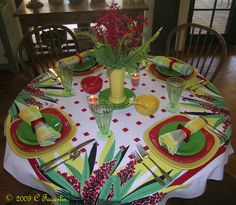 "The Little Round Table | ""Tropical Yucca for Squares"" Scarlet and Sunflower Square Post 86 Fiesta® with Shamrock salad plates"