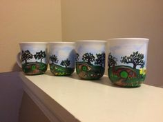 Hobbit tea cups Shire tea set by EsPaintingsNThings on Etsy
