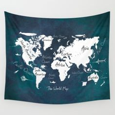 Wall Tapestry featuring World Map Blue Oceans by Jbjart