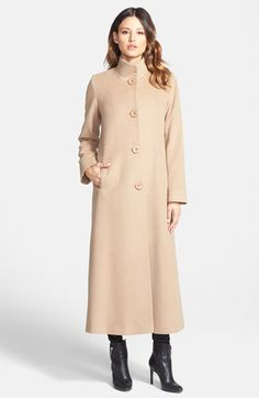 Fleurette Stand Collar Long Cashmere Coat- Pure cashmere brings indulgent warmth and a sumptuously soft feel to a long, sweeping coat punctuated by oversized buttons. | Nordstrom