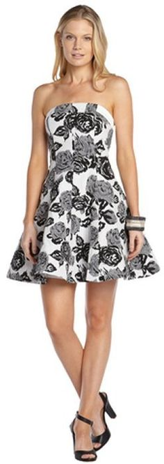 $97, White and Black Floral Skater Dress: ABS by Allen Schwartz Abs By Allen Schwartz Black And White Stretch Cotton Blend Floral Print Strapless Flare Dress. Sold by Bluefly. Click for more info: http://lookastic.com/women/shop_items/77180/redirect