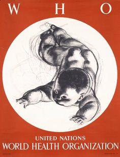 Erni, Hans.   WHO - United Nations World Health Organization. Offset 1950. Size: 30.3 x 23.2 in. (77 x 59 cm).