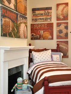 Boys Vintage Classic Sports Bedroom- need to find the baseball picture.