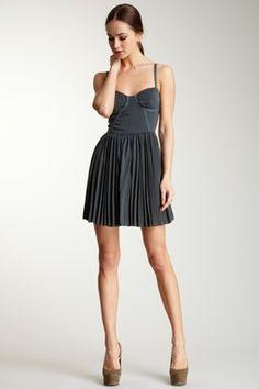 Greylin Pleated Skirt Satin Dress