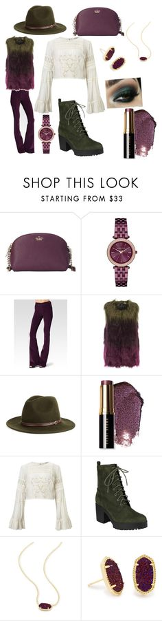 """#polyvorepresents"" by bluejess0821 ❤ liked on Polyvore featuring Kate Spade, Michael Kors, Paige Denim, Unreal Fur, Christys', Bobbi Brown Cosmetics, Miss Selfridge, Kendra Scott and plum"