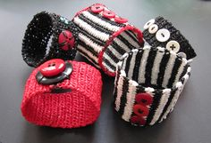 Bracelets crocheted with plastic bag yarn (plarn).