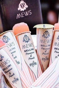 And Frozen Bellini Prosecco Ice Pops! Food Design, Wine Design, Prosecco Van, Prosecco Cocktails, Prosecco Ice Lollies, Champagne Popsicles, Peach Popsicles, Bellini Cocktail, Signature Cocktail