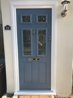 "Check out this Tenby 4 Solidor in Solidor's new ""Twilight Grey"". Chrome Door furniture and Reflections glass. Solidor Composite Doors Get your free quote on 02086444224 We get it right at Wright Glazing Front Door Steps, Grey Front Doors, House Front Door, Blue Doors, Double Storm Doors, Glass Storm Doors, Garage Doors Uk, Entry Doors, Dark Blue Hallway"