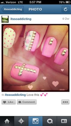 Pink & white studded nails