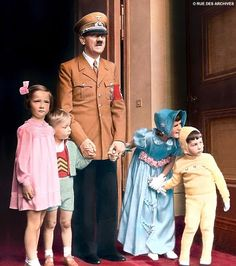 """I've posted Hitler before, but had to put up this one of him with children.  So chilling  knowing that he was ultimately responsible for the deaths of so many innocent children who didn't fit his """"Aryan"""" mold...."""