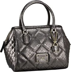 Guess Ophelia Frame Satchel Pewter - Handtasche