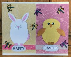 Happy Easter handmade card with bunny and chick and dragonflies.