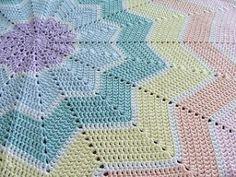 Crochet Blankets Design Ravelry: Rainbow Ripple Baby Blanket pattern by Celeste Young. Crochet Afghans, Crochet Star Blanket, Crochet Baby Blanket Beginner, Crochet Ripple, Crochet Stars, Manta Crochet, Crochet Blanket Patterns, Free Crochet, Knit Crochet