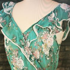 Teal chiffon floral maxi  dress gorgeous for summer. @cathyjanedesigns  #vintagefabric  #nzfashion  #sewingstudio  #embroideryartist  #nzfashionblogger