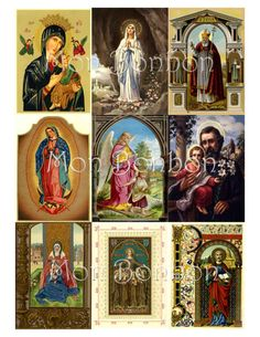 Vintage Religious Saints and Angels Digital Collage Sheet for Download use with crafts,altered art, atc, journals, scrapbooking, ephemera