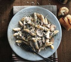 Lidia's penne with ricotta and mushrooms