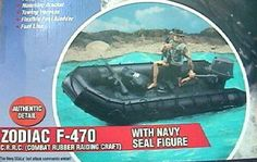 G I Joe Zodiac F 470 with Navy Seal Figure by hasbro. $140.00. Pump jet and mounting bracket. Officially licensed Zodiac Product. 12 Inch Navy Seal figure. Boat with carrying handles and motor. G.I.Joe 12 Inch Zodiac F-470 C.R.R.C Combat Rubber Raiding Craft with Navy SEAL Figure