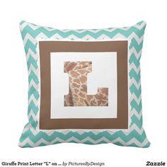 "Giraffe Print Letter ""L"" on Mint/White Chevron Throw Pillow"
