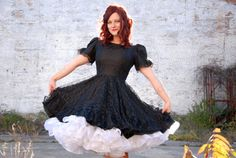Items similar to Vintage black lace dress, short puff sleeves, circle skirt, M L on Etsy Big Dresses, Dance Dresses, Vintage Dresses, Square Dance, Full Skirts, Nice Clothes, Puff Sleeves, Sweet Dress, Kawaii Fashion