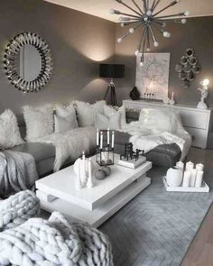 28 Cozy Living Room Decor Ideas To Copy grey and white living room decor - Living Room Decoration Living Room Decor Cozy, Chic Living Room, Living Room Grey, Home Living Room, Apartment Living, Living Room Designs, Cozy Apartment, Cozy Room, Bedroom Decor