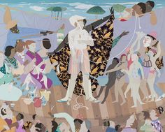 """NGV Triennial 2018 Kushana BUSH """"Maybe the people"""" gouache, metallic paint and pencil. x cm) (image) x cm (framed). National Gallery of Victoria, Melbourne. Purchased with funds donated by Jo Horgan and Peter Wetenhall, © Kushana Bush Ritual Spirit, Nz Art, Gouache Painting, Figure Painting, Art Google, Figurative Art, Art History, Contemporary Art, Art Gallery"""