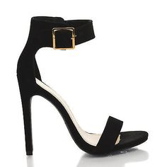 Canter Black Lami Delicious Women's Single Sole Ankle Strap High Heels