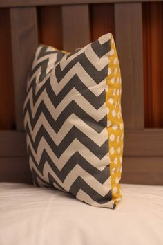 Decorative Pillow  Gray Chevron and Yellow by Simply1Stitched, $15.00